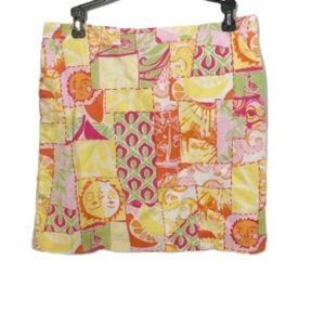 Lilly Pulitzer citrus sun printed patch skirt